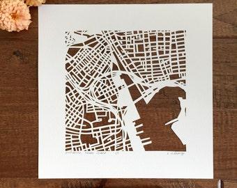 Providence, RI Hand Cut Map ORIGINAL