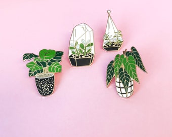 Plant Lover Pin Pack // Terrarium, Fiddle Leaf, Succulent, Plant Lover, Crazy Plant Lady, Plant Lapel Pin, Gifts for Her