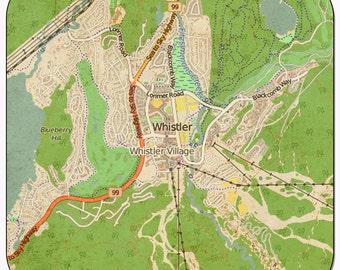Whistler Vintage Map Coasters