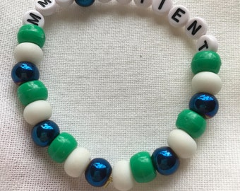 Green blue and white mmj patient beaded bracelet