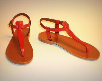Women's thong sandals Iuzza Viareggio Red, handmade 100% made in Italy, real leather, handicrafts, hand made. Red