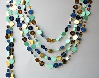 Navy gold garland, Gold mint garland, Navy blue Mint gold wedding decor, Metallic garland, Paper garland, Wedding decor, KMCG-8501
