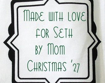 Quilt Label - Black & White #11, Custom Made and Hand Embroidered
