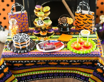 Miniature Halloween Trick or Treat Table - Holiday Treat Table - 1:12 Dollhouse Miniature
