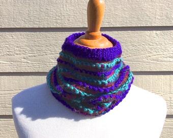 Cowl - Hand Knit Cowl - Knit Cowl - Scarf - Hand Knit Scarf - Knit Scarf - Purple Cowl - Purple Scarf