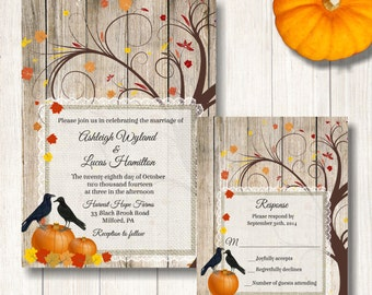 Fall Wedding Invitation, Pumpkins and Crows Wedding Invite, Rustic Autumn Wedding Invitation, Fall Tree and Pumpkins Wedding Invitation