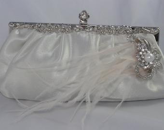 Bridal Handbag, Ostrich Feather Wedding Clutch, Pearl Bridal Clutch, Wedding Handbag, Ivory Bridal Clutch, Crystal Wedding Clutch, Ivory Bag