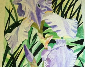 SALE, Iris and Reeds, original watercolor painting, Louisiana southern flower