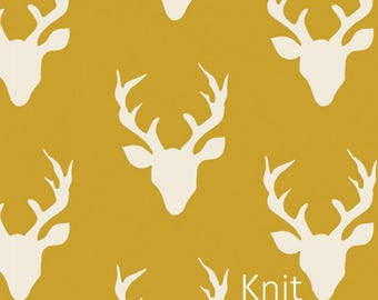 Buck Forest Mustard in KNIT- Art Gallery's Hello Bear Collection by Bonnie Christine- cotton lycra knit apparel fabric- choose your cut.