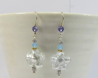 Silver Murano Glass Venetian Flowers Earrings, Murano Glass Earrings w Swarovski Crystal and 925 Sterling Silver in Clear w Silverfoil Glass