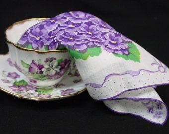 Pretty Vintage Hanky, Handkerchief, Purple Violets, Ribbons, Bows
