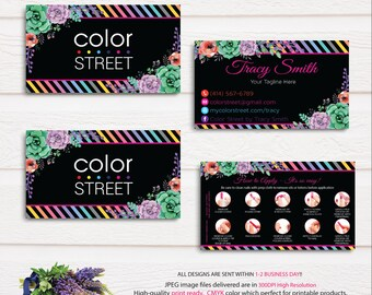 Color Street Business Cards, Personalized Color Street Business Cards, How to apply Card, Printable Business Card CL05 Black
