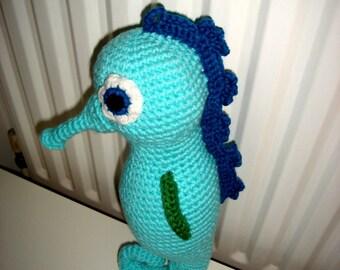 Seahorse, Amigurumi Seahorse, Large Seahorse, Green Seahorse, Handmade Seahorse, Soft Toy, Gift,  Present, Toy, Birthday Gift