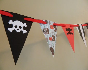 Pirate Birthday Party Decorations / Pirate Party decor / Boys Room Decor / Paper garland  Pirate Party Prop