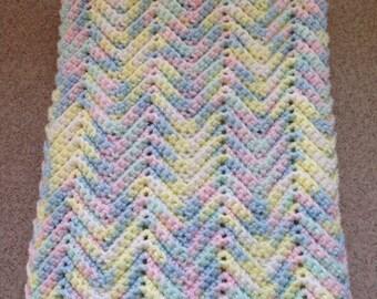 Crocheted Baby Blanket / Afghan in  Multiple Pastel Colors