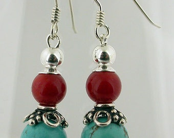 Turquoise And Red Coral Sterling Silver Earrings 03