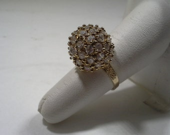 Beautiful Vintage 10k Gold Sparkling Austrian Crystal Disco Ball Ring Size 7-1/4 Weighs 6.2 grams 16.46 mm wide