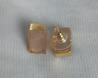 Gemstone Studs, Gold Plated Studs, Bezel Setting Studs, Rose Quartz Studs, Small Post Studs, Brass Studs, Fashion Studs, Wedding Studs