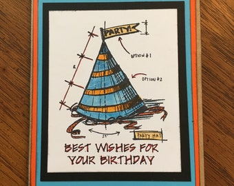 Party Hat Card - orange and blue - Birrthday card - Best Wishes