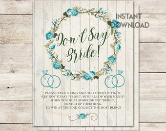 Don't Say Bride Game, Bridal Shower Game, Shower Activity, Bridal Shower, Rustic Bridal Shower, Vintage, Flower Wreath,  Printable No. 1026