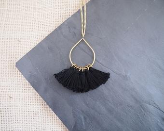 Black Tassel Teardrop Necklace // Tassel Necklace // African Necklace // Statement Necklace // Made in Kenya