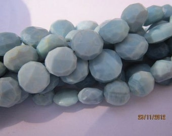 "14"" natural blue opal 7-8mm faceted coin gemstone beads"