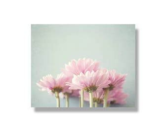 Pink flower photo canvas wall art, floral decor, flower canvas, girls room decor, nature photography, pink, blue - Her Little Garden