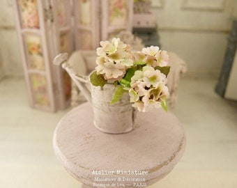 Three Pink Hydrangeas, Miniature Metal Watering Can, Paper Flowers, Dollhouse, Veranda, Miniature Garden, Scale 1/12