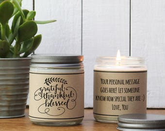 Grateful, Thankful, Blessed Candle Gift - Thanksgiving Candle Gift | Thanksgiving Hostess Gift | Send Fall Gift | Fall Scented Candle