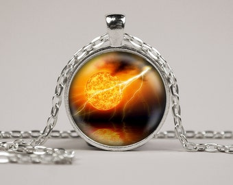 Sun Solar Flare Pendant Necklace or Keyring Glass Art Print Jewelry Charm Space solar system astronomy galaxy Planet CE1