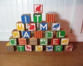 26 Vintage Wooden Letter Building Blocks, Vintage Toys