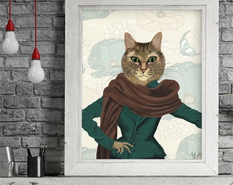 Tabby Cat illustration - Feline Fashionista  - cat portrait best friend gift fashionista party funny cat art funny cat poster animal