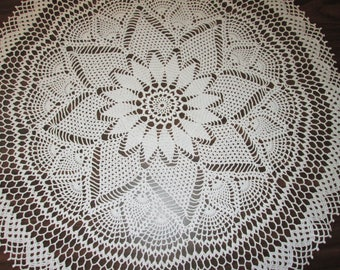 "White 26 1/2"" Table Center Hand Crocheted"