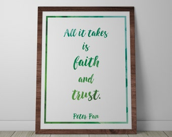 Poster / Print - Disney Peter Pan Movie Quote - 3 Sizes Available