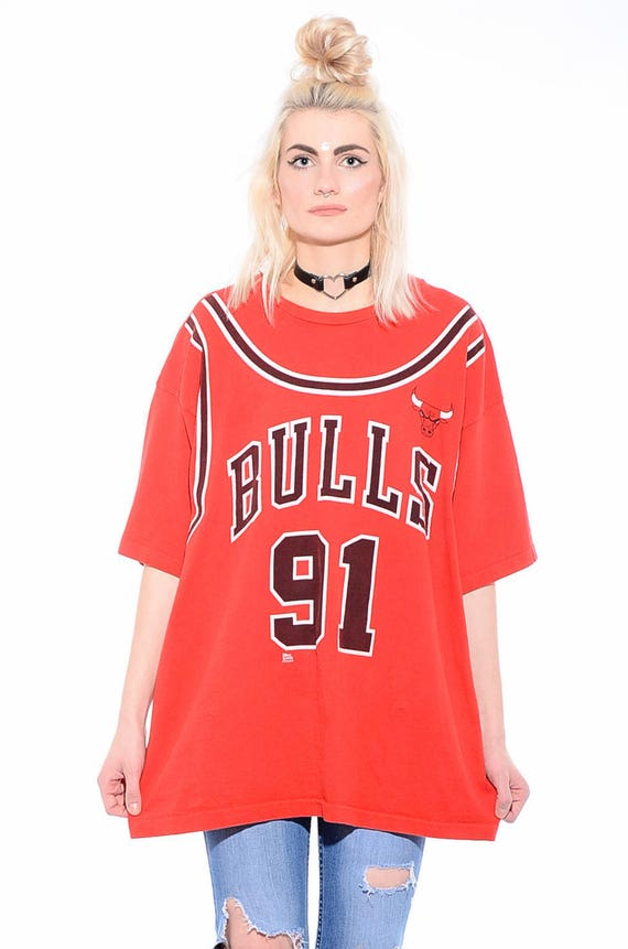 T Shirt 90s Rodman Basketball XXL Hop BULLS Oversized Jersey CHICAGO Dennis 91 Vintage Hip SfBq0w