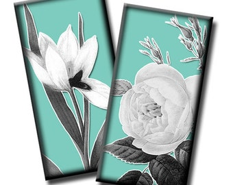 Black and White Flora on Blue - 1x2 inch rectangles - (2) Digital collage sheets