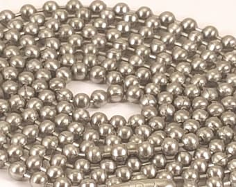 30 inch real Stainless Steel ball chain - great for pendants military type ID dog tags MADE in USA