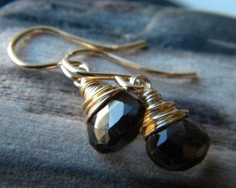Classic smoky quartz wire wrapped briolette drop earrings - wardrobe staple - 14k gold filled handmade gemstone jewelry