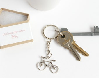 Silver Bicycle Keyring, Bicycle Keychain, stocking filler, stocking stuffer, cycling gifts