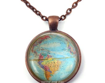 Vintage Globe Necklace - Antique World Map Necklace Pendant - Map Jewelry - Earth Necklace - Geography Teacher Gift  - Map Art Jewelry