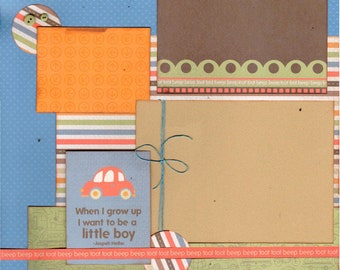 When I Grow Up I Want to be a Boy 2 page scrapbooking layout kit