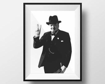 Winston Churchill, Darkest Hour, Gallery Wall, Home Print, Office Wall Art Print, Kitchen Decor, Modern Home Prints, Large Prints, Posters
