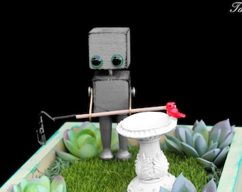 Succulent Terrarium, Miniature Air Plant Garden Planter, Robot Terrarium Gift
