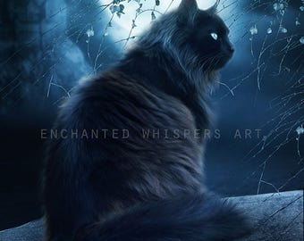 fantasy black cat art print by Enchanted Whispers