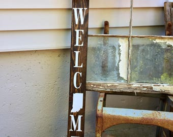 Welcome porch sign, vertical porch sign, wooden welcome sign, wood state sign, farmhouse porch, entry way sign, vertical porch sign, front