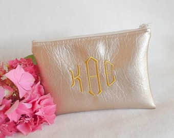 Gold bridesmaid gift - monogram clutch purse - personalized cosmetic bag - zipper pouch - make-up bag - gift for her - wedding accessory