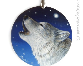 Howlin' Wolf Pendant | Hand Painted Jewels by Roberto Rizzo