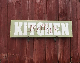 PRiMiTivE MANCAVE, GARDEN or KITCHEN Signs - Personalized with name overlay