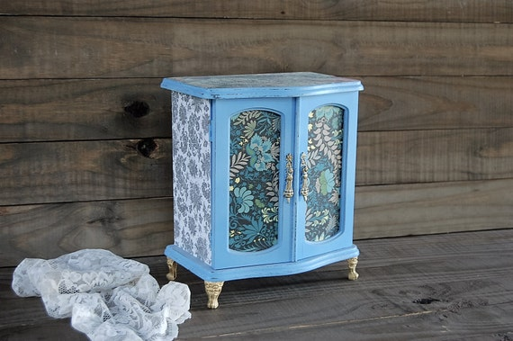 Jewelry Armoire Shabby Chic Jewelry Box Blue French