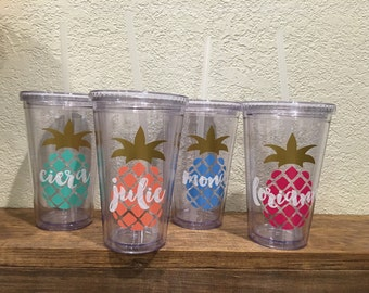 Personalized Tumblers for Bridesmaids, Pineapple, Tropical, Bachelorette Gift - 16oz Tumblers